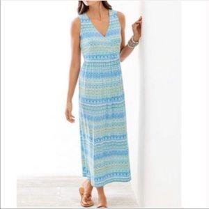 J. Jill Aegean Maxi Dress Blue Green Medium M